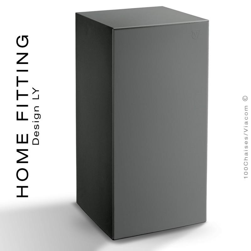 Table haute carré HOME FITTING, structure plastique couleur noir