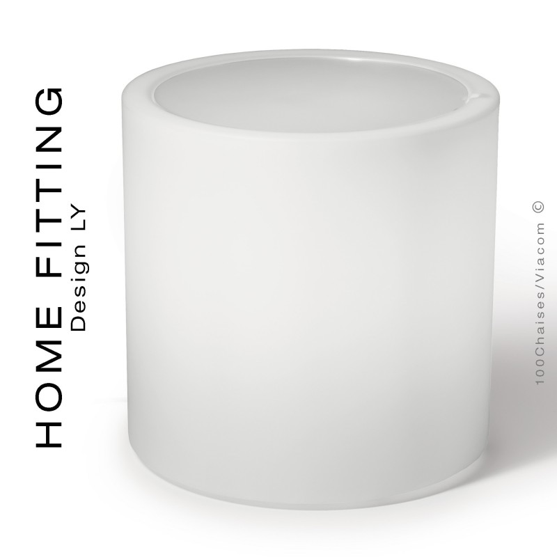 Table lumineuse HOME FITTING ronde, structure plastique, plateau plexiglass.