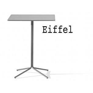 Eiffel table de bar carré, structure, peinture polyuréthane argent mat, plateau compact gris