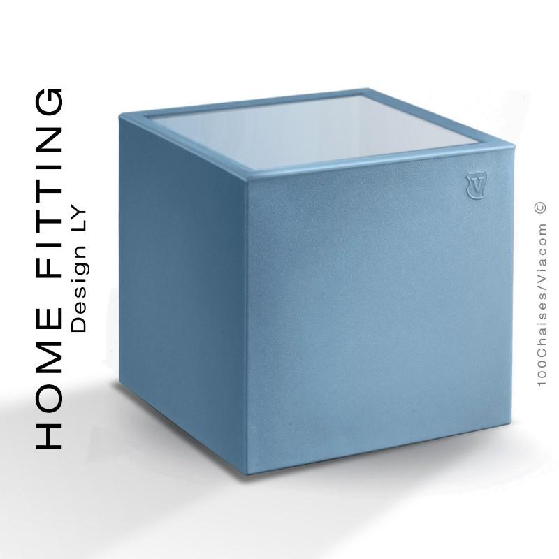 Table HOME FITTING carré, structure plastique bleu clair, plateau plexiglass.