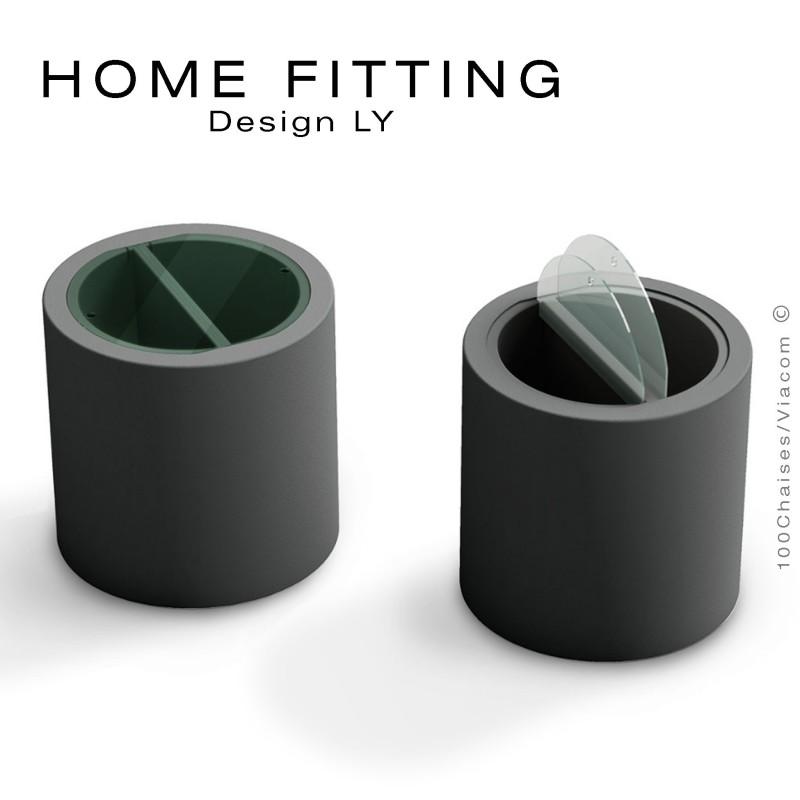 Table, desserte HOME FITTING, structure plastique avec rangement noir, plateau plexiglass.