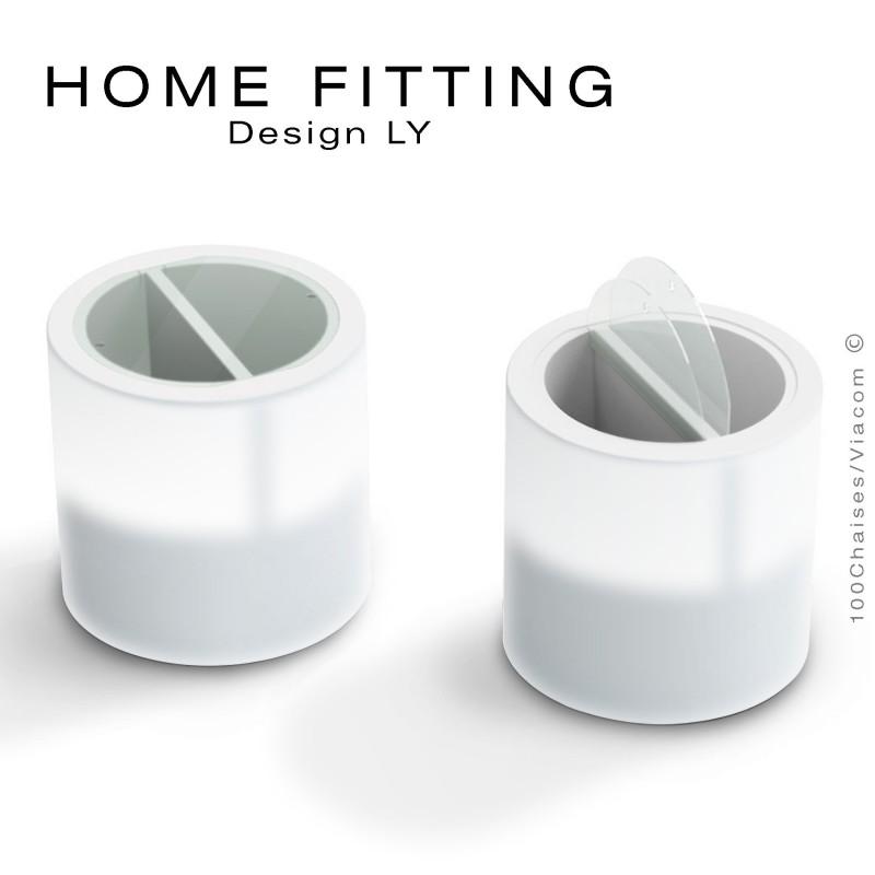 Table, desserte lumineuse HOME FITTING LED, structure plastique avec rangement, plateau plexiglass.