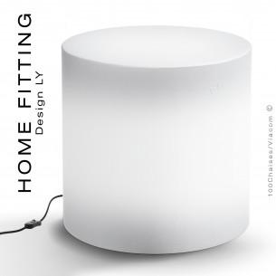 Pouf, table lumineuse ronde HOME FITTING LED sur prise secteur, structure plastique.