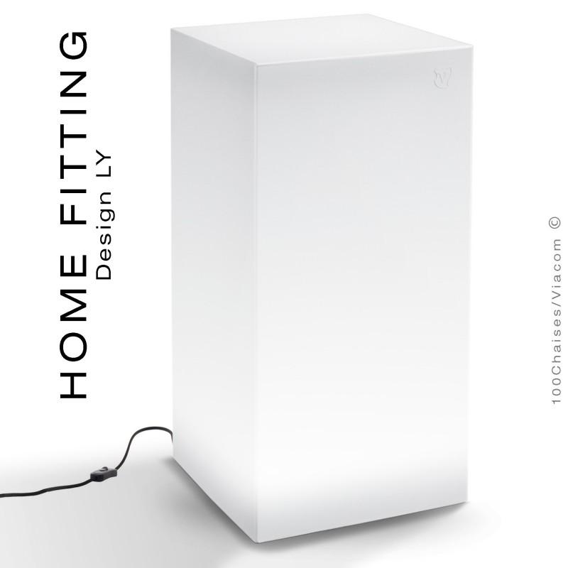 Table haute carré lumineux HOME FITTING LED sur prise secteur, structure plastique.