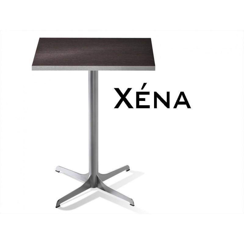 Xéna table carré, structure finition peinture argent, plateau noyer foncé.