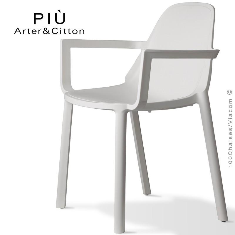 Fauteuil design PIÙ, structure plastique couleur blanc