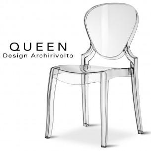 QUEEN chaise design plastique transparente (lot de 6 chaises).