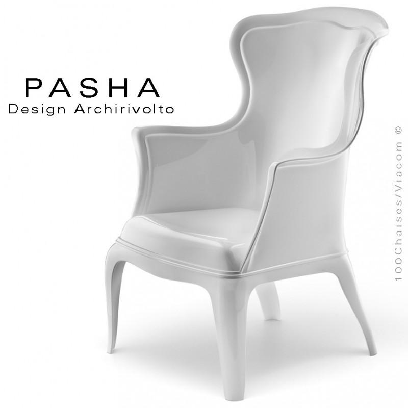 Fauteuil lounge design PASHA en polycarbonate blanc opaque.