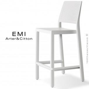 Tabouret de cuisine EMI, structure plastique couleur blanc.