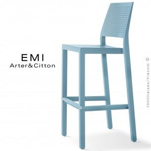 Tabouret de bar EMI, pour extérieur, terrasse et jardin, structure plastique couleur bleu clair.