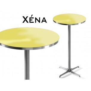 Xéna table mange debout, structure peinture argent mat, plateau jaune.