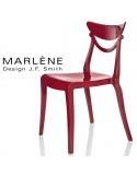 Chaise plastique MARLÈNE, structure nylon brillant, couleur rouge Pompéi.