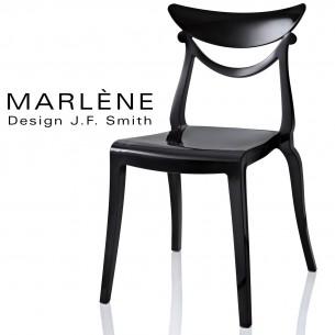 Chaise plastique MARLÈNE, structure nylon brillant, couleur noir.