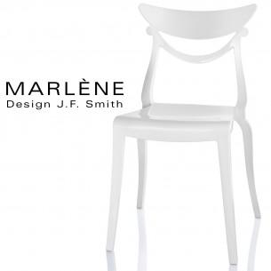 Chaise plastique MARLÈNE, structure nylon brillant, couleur blanc.