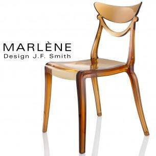 Chaise plastique MARLÈNE, structure polycarbonate couleur ambré.