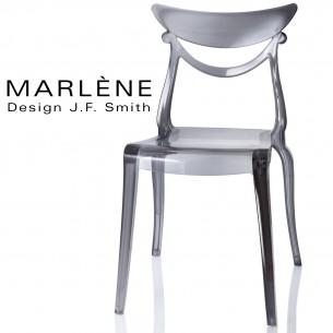 Chaise plastique MARLÈNE, structure polycarbonate couleur fumé.
