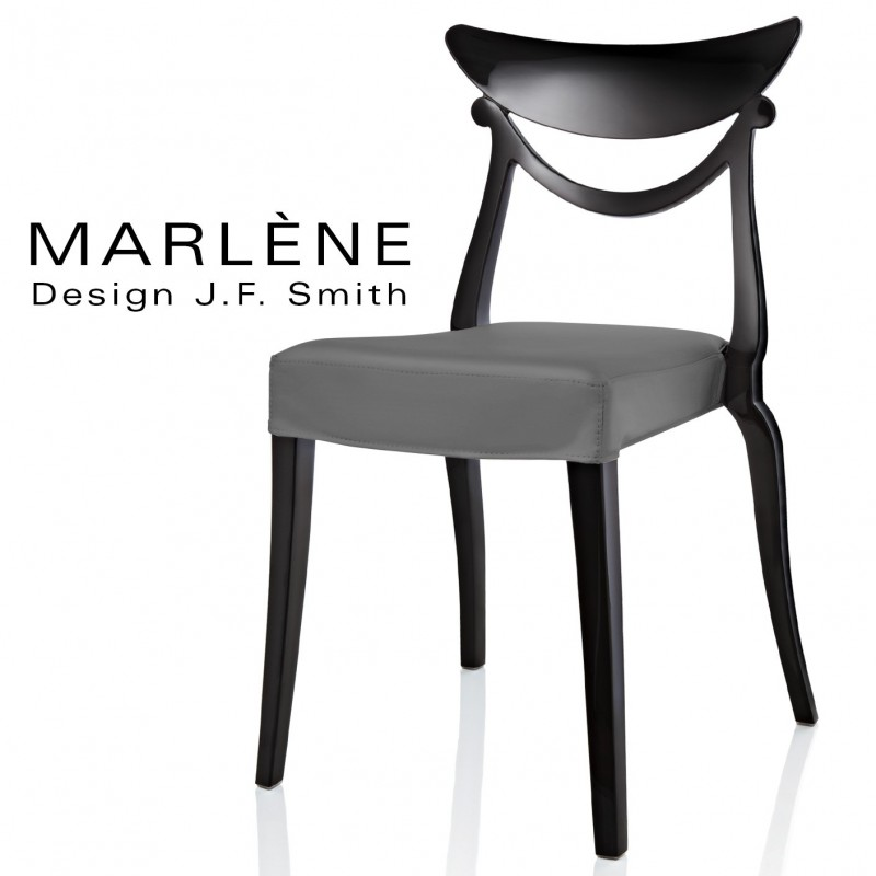 Chaise design Marlène, structure plastique noir, habillage tissu couleur argent.