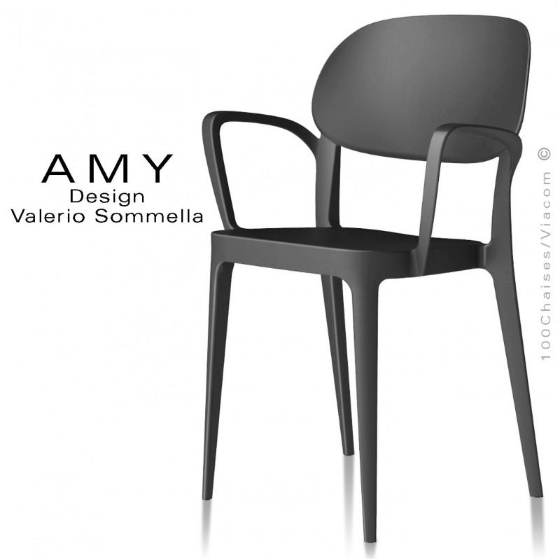 Fauteuil design AMY structure plastique couleur anthracite - Lot de 4 pièces.