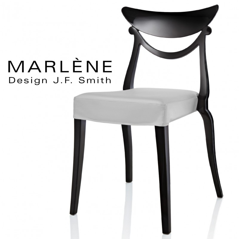 Chaise design MARLÈNE structure plastique opaque brillant couleur noir, assise habillage cuir synthétique argent.
