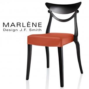 Chaise design MARLÈNE structure plastique opaque brillant couleur noir, assise habillage cuir synthétique orange.