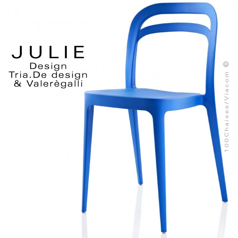 Chaise design JULIE, structure plastique couleur bleu - Lot de 4 pièces.