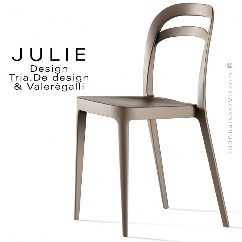 Chaise design JULIE, structure plastique couleur sable - Lot de 4 pièces.
