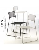 Collection LOG, structure en acier peint, assise et dossier en treillis métallique.