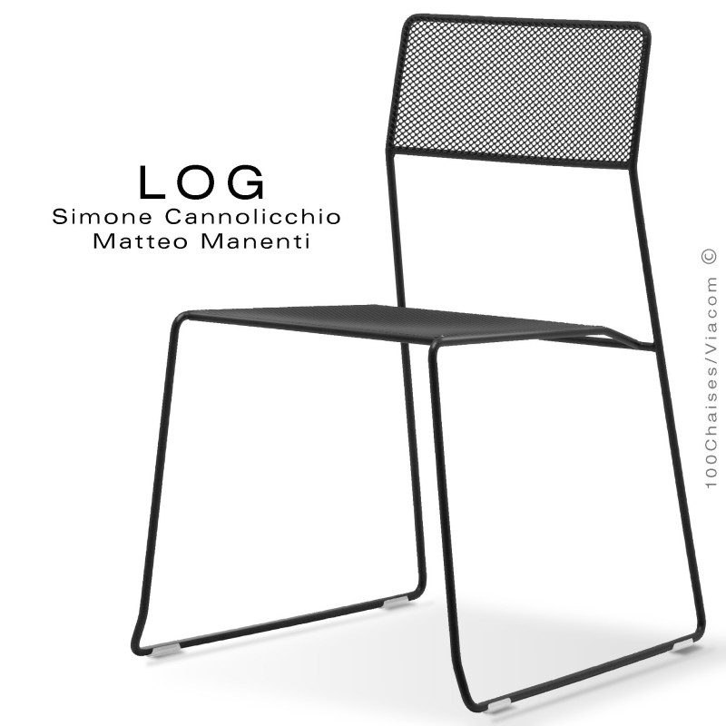 Chaise LOG, structure en acier, assise et dossier en treillis métallique peint noir.