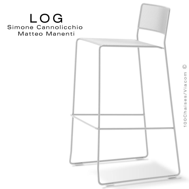 Tabouret LOG, structure en acier, assise et dossier en treillis métallique peint blanc.