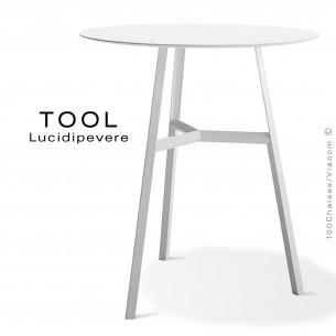 Table TOOL 75, structure en acier peint blanc.