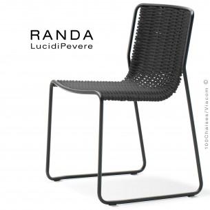 Chaise RANDA, structure acier peint noir, assise et dossier corde unie noir