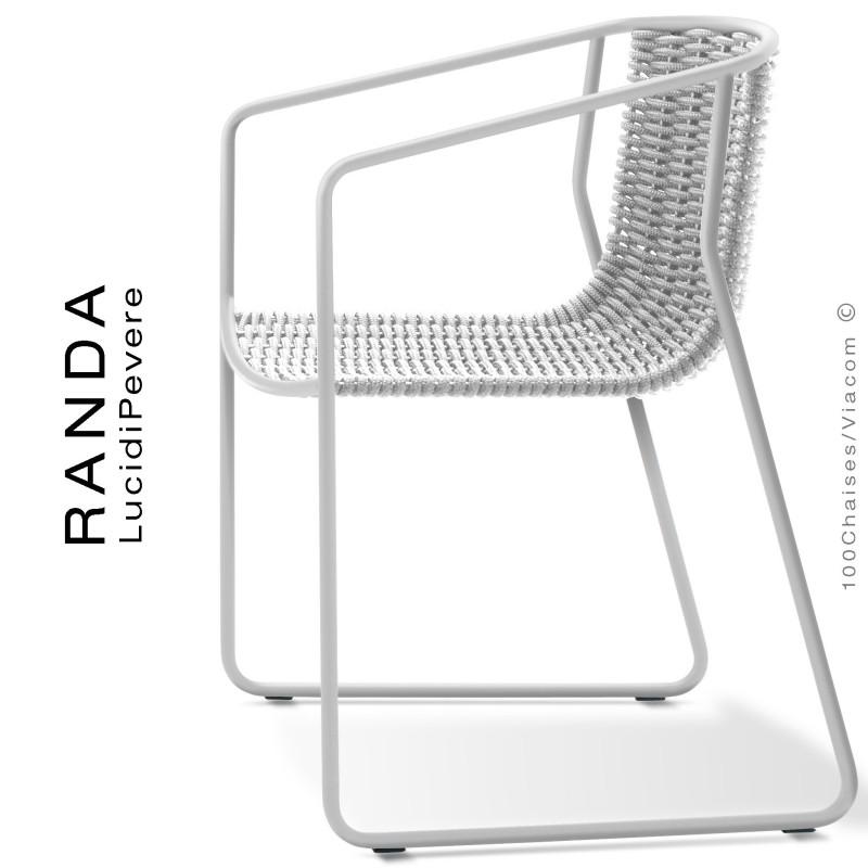 Fauteuil RANDA, structure acier peint blanc, assise et dossier tressage corde unie blanc