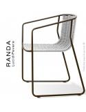 Fauteuil RANDA, structure acier peint marron, assise et dossier tressage corde unie blanc