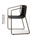 Fauteuil RANDA, structure acier peint marron, assise et dossier tressage corde unie noir