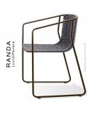 Fauteuil RANDA, structure acier peint marron, assise et dossier tressage corde unie argent