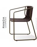Fauteuil RANDA, structure acier peint marron, assise et dossier tressage corde unie marron