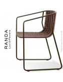 Fauteuil RANDA, structure acier peint marron, assise et dossier tressage corde unie chanvre
