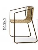 Fauteuil RANDA, structure acier peint marron, assise et dossier tressage corde unie beige