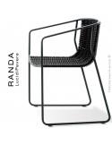 Fauteuil RANDA, structure acier peint noir, assise et dossier tressage corde unie noir