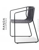 Fauteuil RANDA, structure acier peint noir, assise et dossier tressage corde unie argent