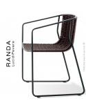 Fauteuil RANDA, structure acier peint noir, assise et dossier tressage corde unie marron