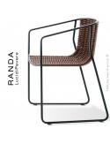 Fauteuil RANDA, structure acier peint noir, assise et dossier tressage corde unie chanvre