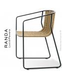 Fauteuil RANDA, structure acier peint noir, assise et dossier tressage corde unie beige