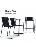 Collection RANDA, structure acier peint, assise et dossier corde unie.