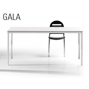 GALA table en acier, finition peinture blanche, plateau bois MDF blanc.