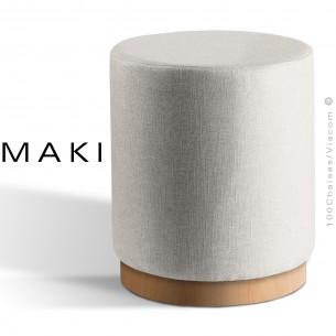 Pouf rond MAKI, socle bois de frêne vernis hêtre naturel, assise et côtés habillage tissu gamme Esedra couleur blanc.
