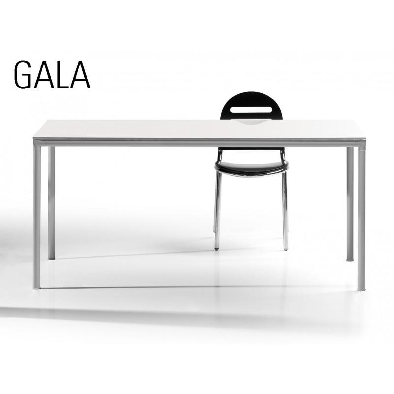 GALA table en acier, finition peinture argent mat, plateau bois MDF blanc.