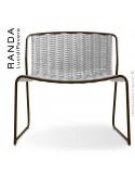 Chaise lounge RANDA, structure acier peint marron, assise et dossier tressage corde unie blanc