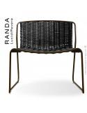 Chaise lounge RANDA, structure acier peint marron, assise et dossier tressage corde unie noir
