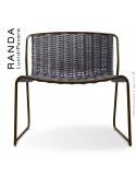 Chaise lounge RANDA, structure acier peint marron, assise et dossier tressage corde unie argent